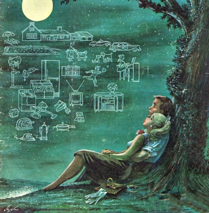 vintage illustration couple american dream