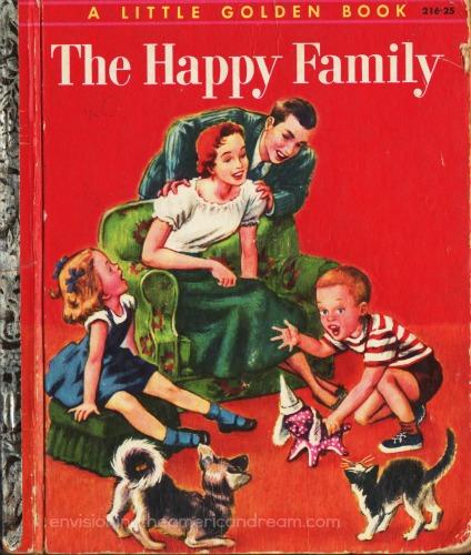 Vintage Childrens  book Happy Family illustration 1950s family