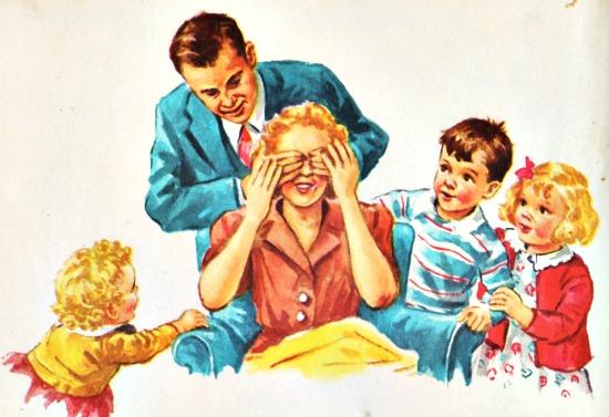 Vintage illustration childrfens school books Dick jane and Sally