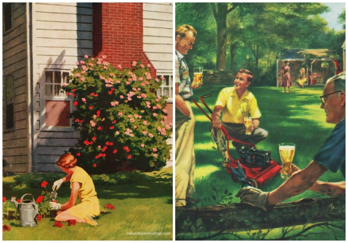 vintage illustration suburbs gardening lawns