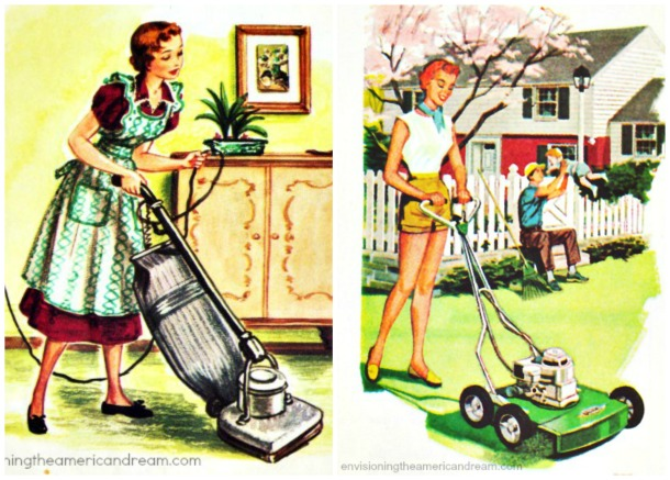 suburbs gardening mowers housework