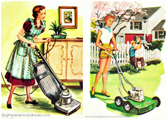 vintage illustrations 1950s suburbs gardening mowers housework