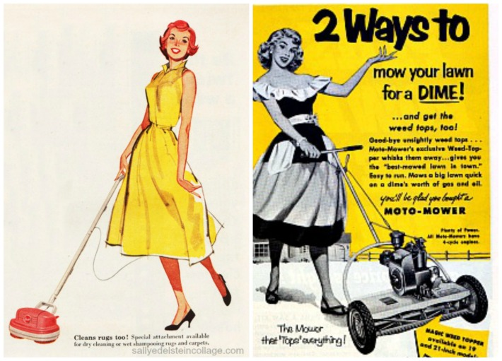 vintage illustration 1950s housewives housework  lawn mower sexist ads