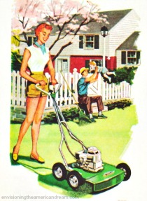 vintage illustration woman mowing lawn