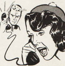 BW Illustration talking on telephone