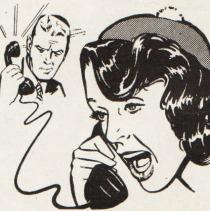 BW Illustration talking on telephone