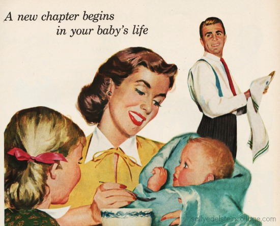 vintage illustration mother and baby 1950s