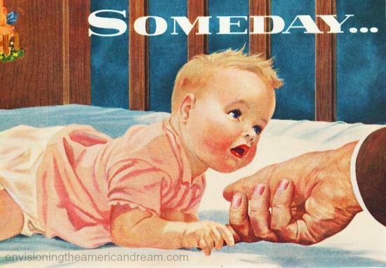 vintage illustration baby in crib 1950s
