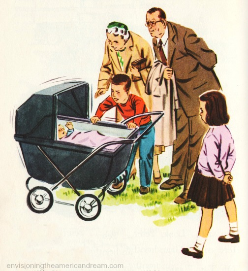 vintage  schoolbook illustration family and baby