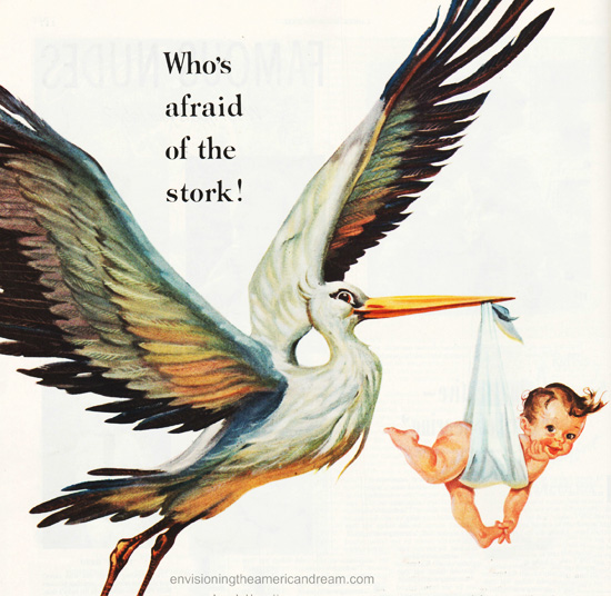 babys pregnancy stork illustration