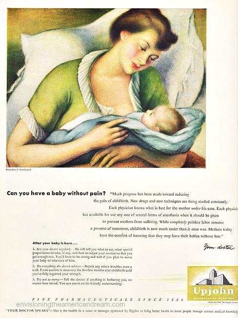 health Drugs Upjohn old ad mother child illustration