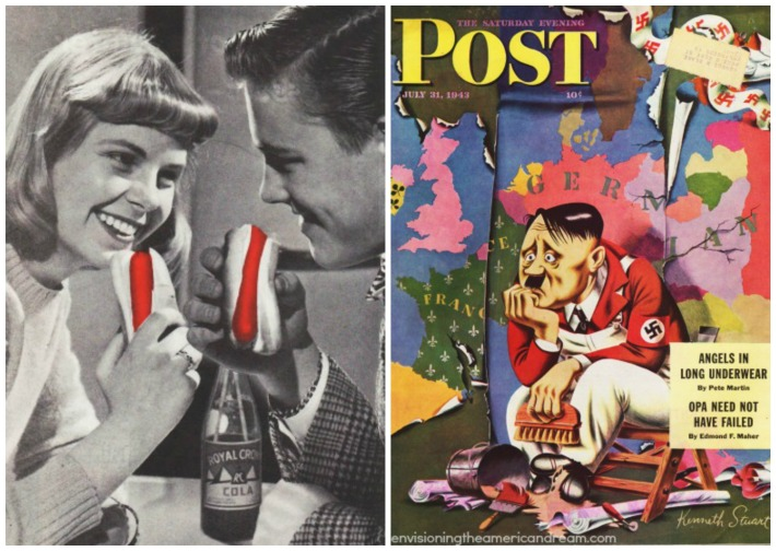 couple eating Hot Dogs and vintage wwii illustration  Hitler
