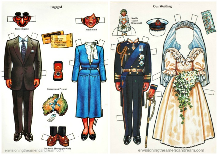 Royalty Charles and Diana  paperdoll illustrations wedding