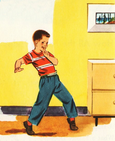 vintage school book illustration boy