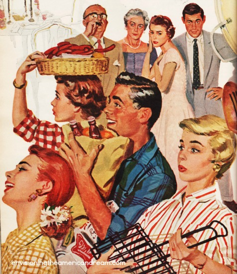 suburbs barbecue vintage illustration 1950s