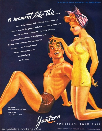 vintage illustration of couple in swimsuits  jantzen swim suit WWII