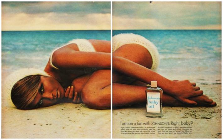 Tanning Johnson baby Oil woman on beach