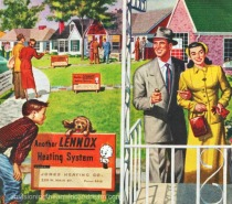 1950s suburbia illustration