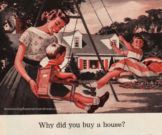 suburbia 1950s family illustration