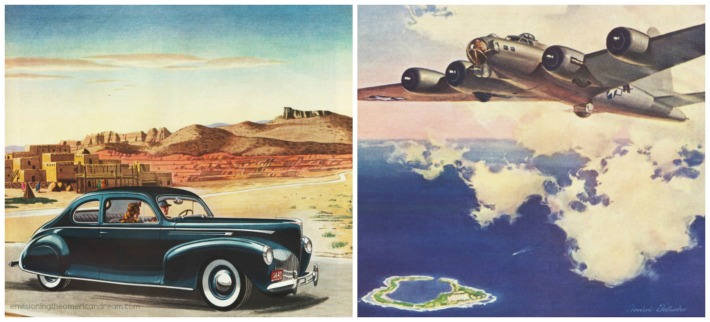 vintage car 1940s illustration WWII Bomber