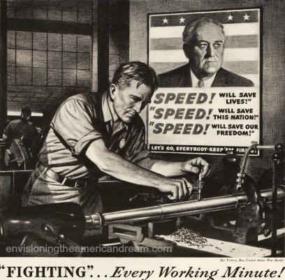 WWII Oldsmobilead illustration auto worker