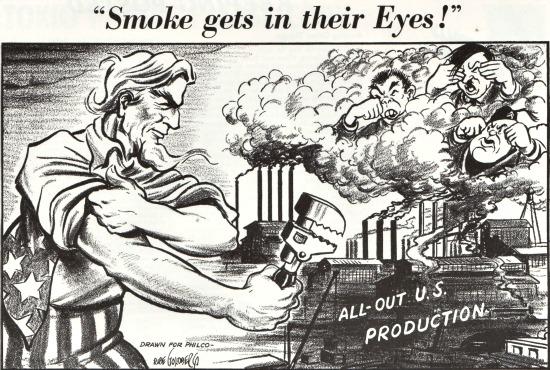 Vintage cartoon WWII Uncle Sam