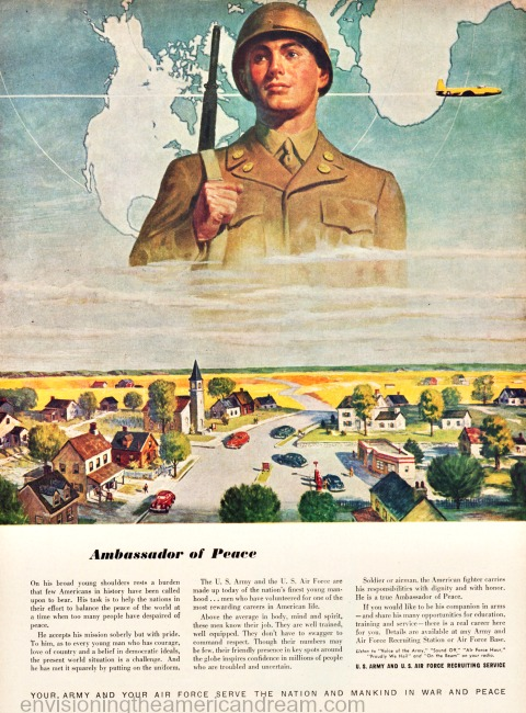 vintage recruiting ad US Army illustration soldier