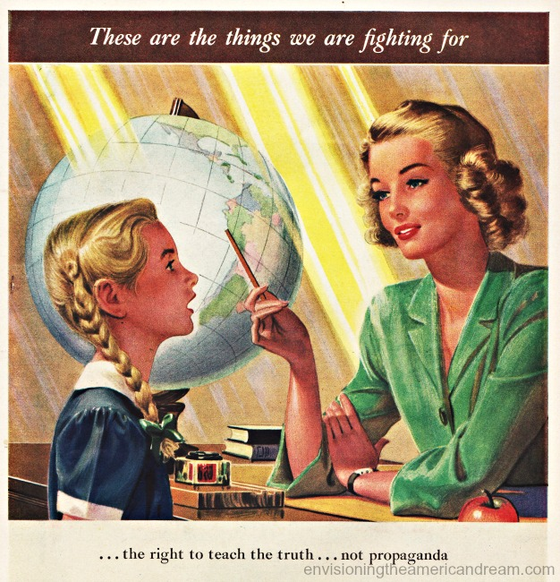America patriotism illustration little girl, teacher, globe,1940s