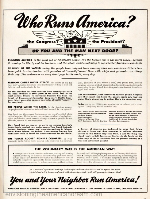 American propaganda agianst healthcare insurance 1950