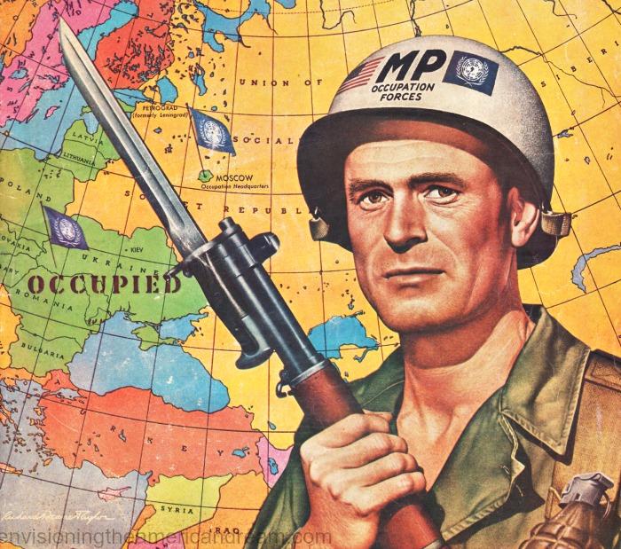 Cold war illustration Colliers Magazine US soldier