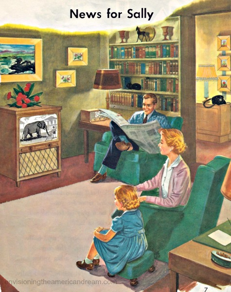 Vintage children's schoolbook illustration family at home TV