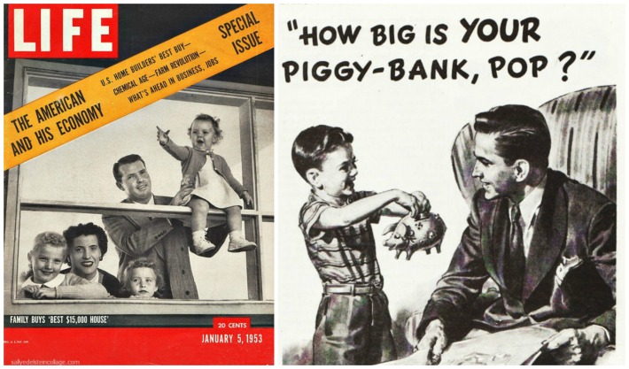 economy Life magazine piggy bank family