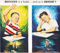 vintage illustration school kids 1950