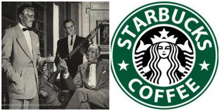 vintage men and guns illustration and starbucks logo