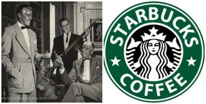 vintage men and guns illustration and starbucks logo
