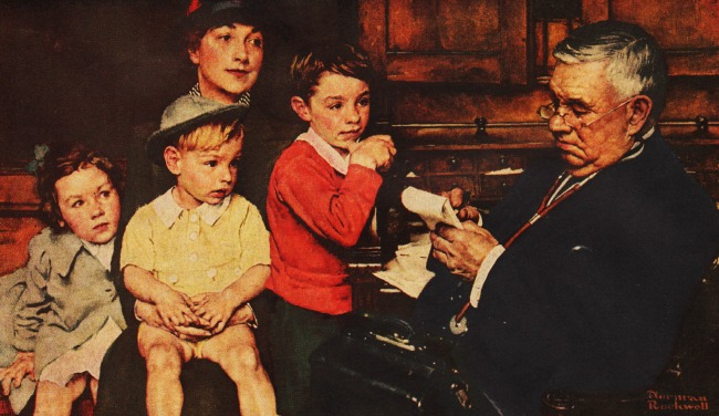 NormanRockwell Illustration Family doctor 1940s