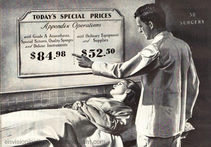 vintage illustration doctor hospital 1940s