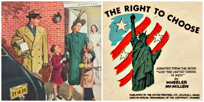 vintage illustration family hospital statue of liberty right to choose
