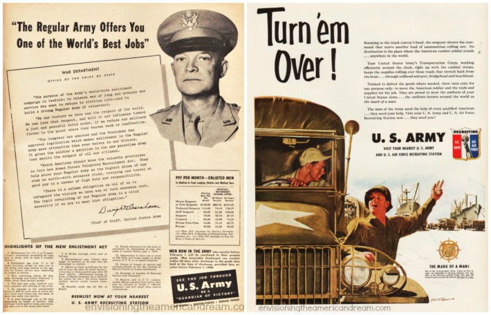military recruiting ads illustration soldiers General Eisenhower photo