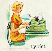 vintage illustration typist