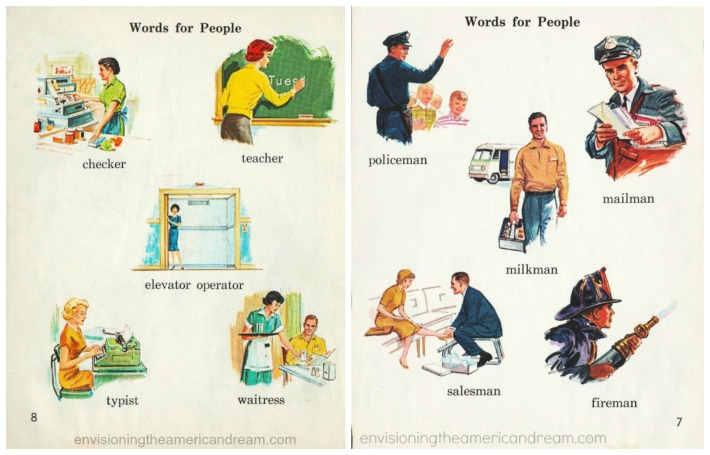 Vintage Childrens Schoolbook Illustrations gender jobs 1962