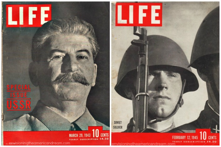Life Magazine Covers WWII Stalin and Soviet Soldier