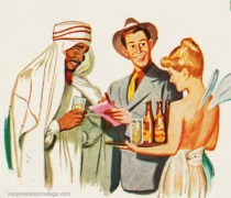vintage cartoon muslim and girl not pc