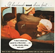vintage car ad women