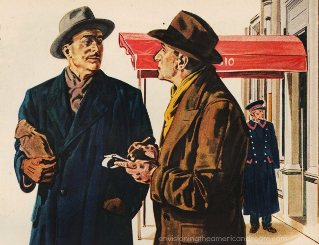 Vintage Illustration of 2 men talking on street