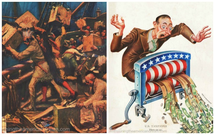 Illustration Boston Tea Party and editorial cartoon of US taxpayer