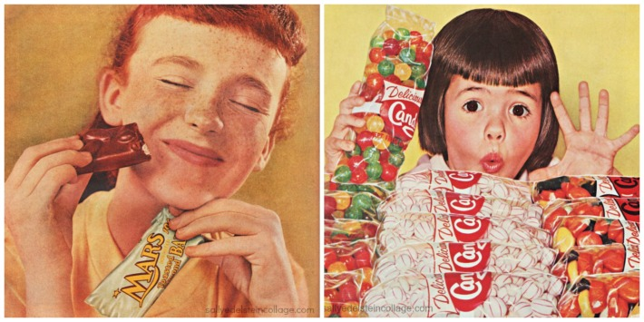 Candy ads vintage children eating candy