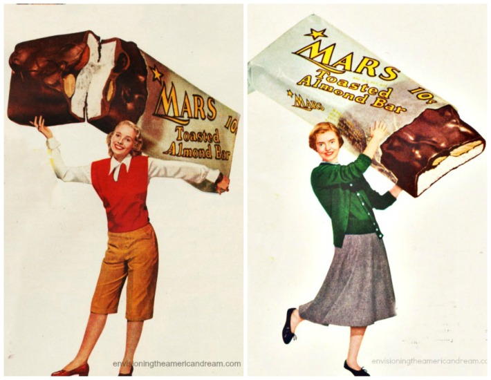 Vintage candy Ad Mars Bar image girl carrying chocolate bar