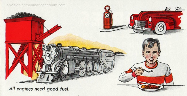 vintage illustration All engines need good fuel