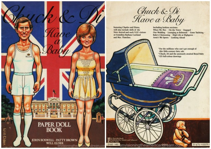 royalty Prince Charles Princess Diana paper doll book illustreation
